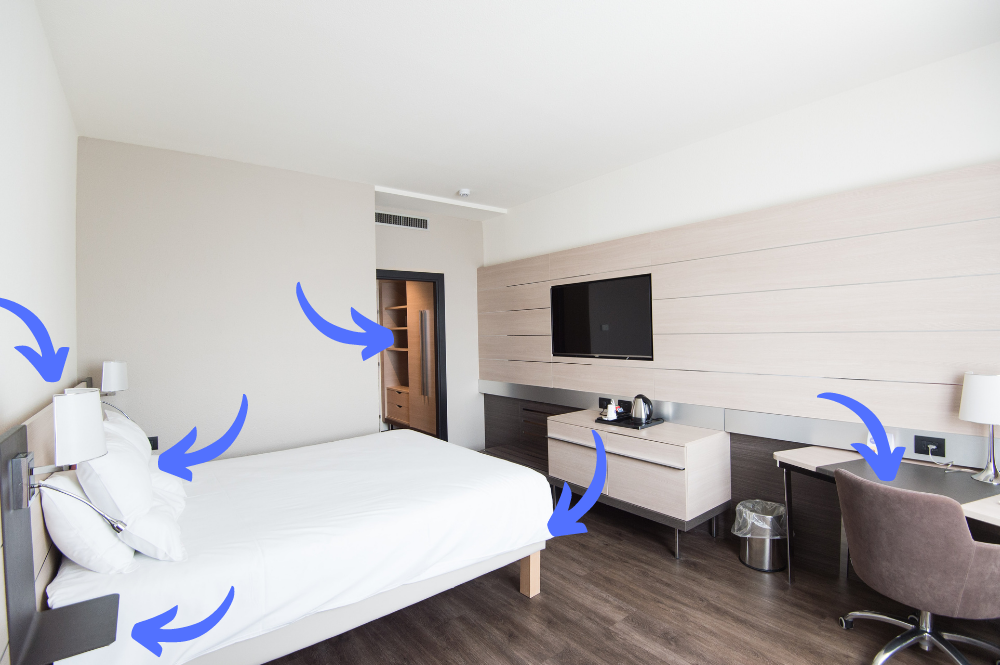 where to look for bed bugs in your hotel